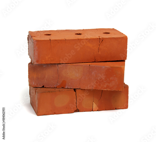 Plakat Stack of old red bricks