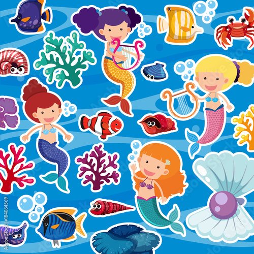 Cotton fabric Seamless background with mermaids and fish