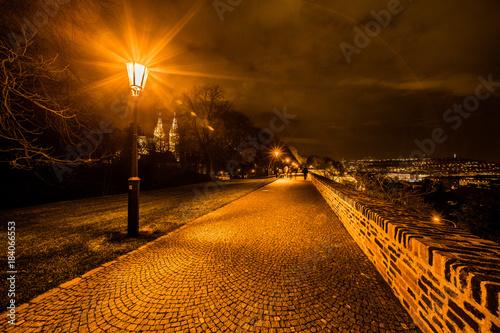 Foto op Aluminium Nacht snelweg Scenic view of historical center Prague