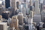Aerial view of the urban skyscraper canyons of the New York City skyline in Midtown Manhattan - 184068340