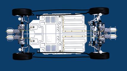 Detailansicht des Antriebs eines Elektroautos