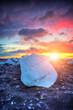 Beautiful sunset over huge ice cube, Iceland