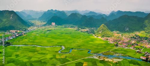 Poster Groen blauw landscape vietnam