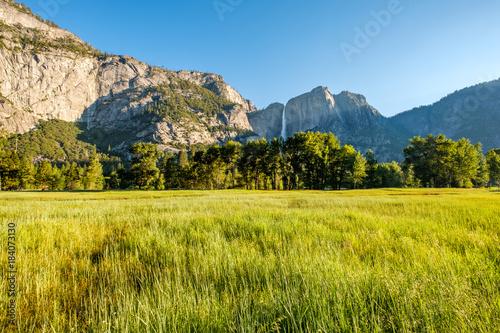 In de dag Gras Meadow in Yosemite National Park Valley