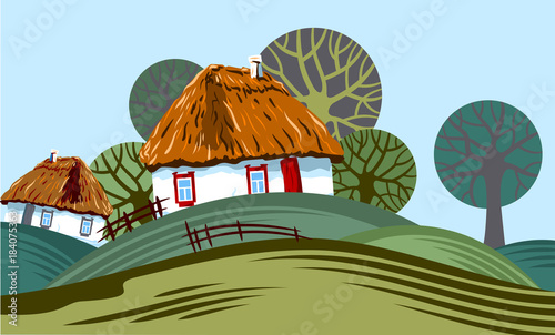 Poster Pistache Rural landscape with trees and small houses