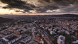 ITALY, Pesaro December 2017 - aerial view of the city with stormy houses, streets, hills and storm clouds - 184076774