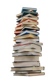 The heavy pile of books isolated white background - 184083988