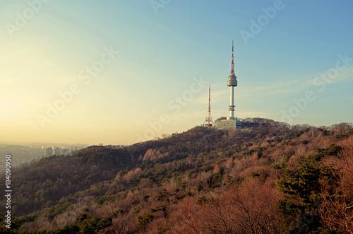 Plexiglas Seoel Panoramic view N Seoul tower at Namsan Mountain public park in central Seoul, South Korea
