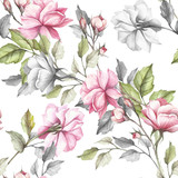 Seamless pattern with roses. Hand draw watercolor illustration - 184094742