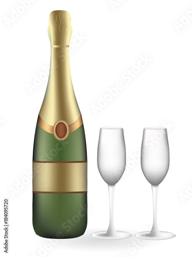 champagne bottle with two empty glasses, vector