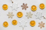 christmas frame composition with dry oranges and wooden snowflakes - 184096185