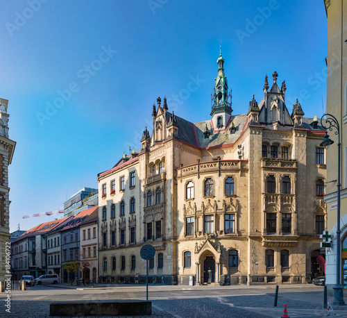 Fridge magnet Jakubske Square, Jakubske Namesti and the Church of St. Jacob in Brno, Czech republic