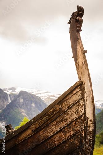Plexiglas Schip Part of old wooden viking boat in norwegian nature