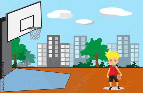 Wall mural Boy Play Basketball character design cartoon art  and Street Background  2