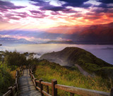3d rendering of beautiful sunrise with nice mountain and temple view