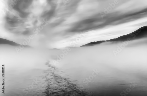 Black and White Abstract Image Fog and Clouds at Sea
