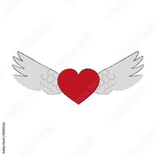 Angels wings with heart icon vector illustration graphic design