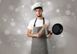 Quadro Male cook with shiny grey wallpaper