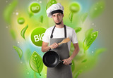 Bio leaves concept and cook portrait - 184115919