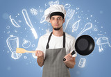 Young cook with chalk drawn soup recipe concept - 184115927