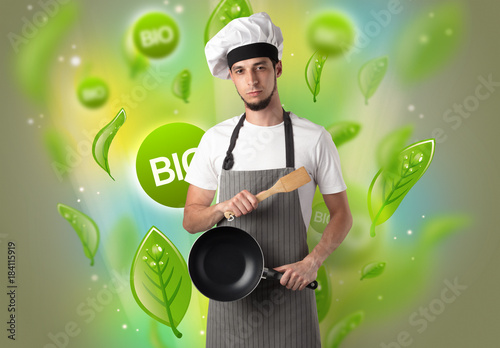 Bio leaves concept and cook portrait