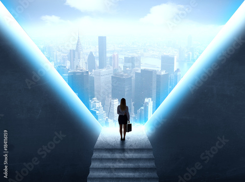 Businesswoman looking at a cityscape Poster