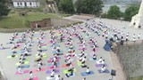 aerial view on big group of adults attending a yoga class outside in park  - 184118550