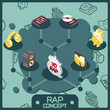 Rap color isometric concept icons