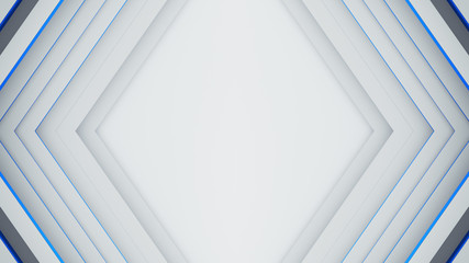 White and blue rhomb frame 3D render