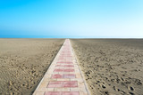 Path on beach, Margherita di Savoia, Italy. - 184125741