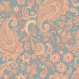 Seamless Paisley pattern. Floral vector illustration - 184128946