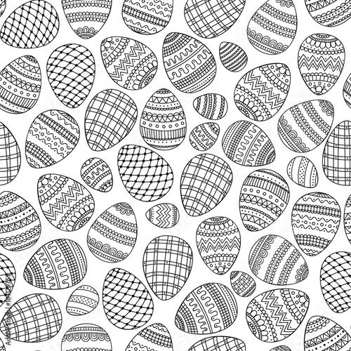 Doodle eggs. Coloring page. Vector seamless pattern with hand drawn eggs. Easter egg with doodle ornament. Coloring page for anti stress coloring book for adult. Black and white illustration.