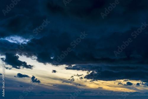 Dramatic dark sky sundown Poster