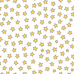 Vector seamless pattern with stars. Cute doodle design for kids. Childish background. Yellow elements on white backdrop.