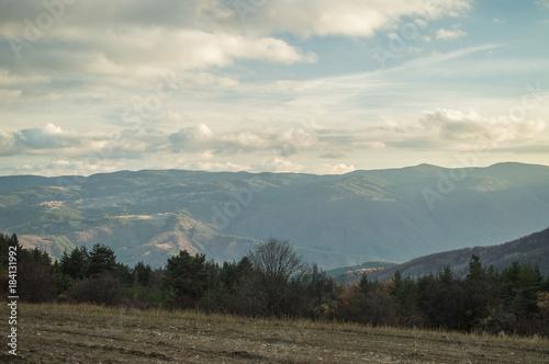 Deurstickers Beige Cloudy hills