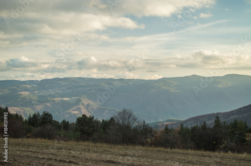 Tuinposter Beige Cloudy hills