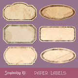 Set of grungy paper tags and labels  - 184133308