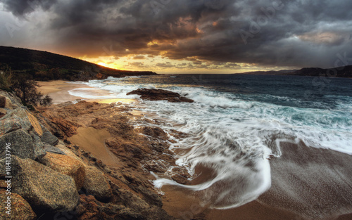 Plexiglas Strand Sunset at beach