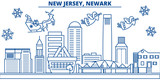 USA, New Jersey , Newark  winter city skyline. Merry Christmas and Happy New Year decorated banner. Winter greeting card with snow and Santa Claus. Flat, line vector, linear christmas illustration - 184138583