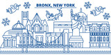 USA, New York, Bronx  winter city skyline. Merry Christmas and Happy New Year decorated banner. Winter greeting card with snow and Santa Claus. Flat, line vector, linear christmas illustration - 184138726