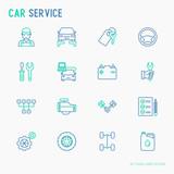 Car service thin line icons set of mechanic, computer diagnostics, tools, wheel, battery, transmission, jack. Modern vector illustration.