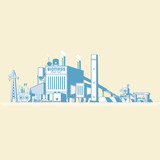 biomass energy, biomass power plant with boiler and seam turbine generate the electric in simple graphic - 184143561