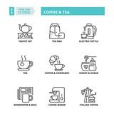 Thin line icons. Coffee and tea