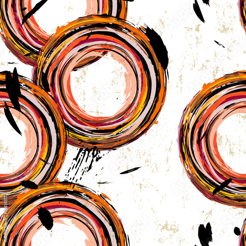 Fotobehang Abstract met Penseelstreken seamless abstract background pattern, with circles, strokes and splashes
