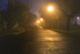 Dark alley iluminated by street lamps at misty cold night. - 184151754