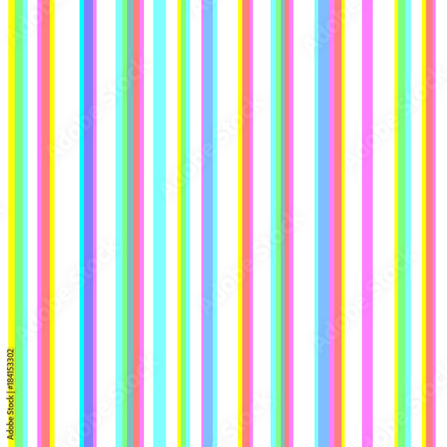 Materiał do szycia Seamless striped pattern with chromatic aberration effect. CMYK stereoscopic halftone vector. Stereo effect background. Abstract displacement cyan, magenta, yellow typographic color stripes.