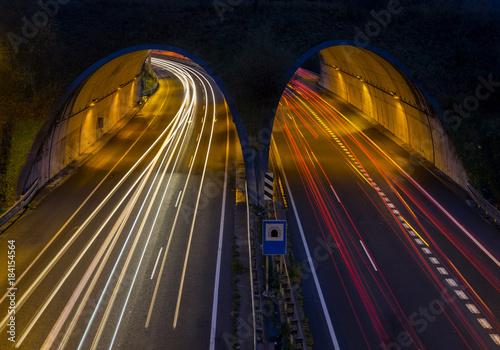 Fototapeta Car lights going through a tunnel in Hernani, Gipuzkoa