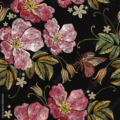 Embroidery rose and butterfly seamless pattern. Template for clothes, textiles, t-shirt design