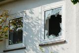 Broken glass window outside