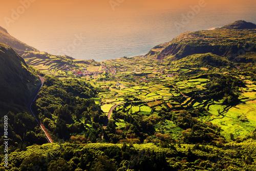 Plexiglas Zwart Idyllic landscape on Flores Island, Azores, Portugal, Europe